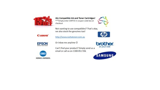 15% off our compatible printer ink and toner cartridges.
