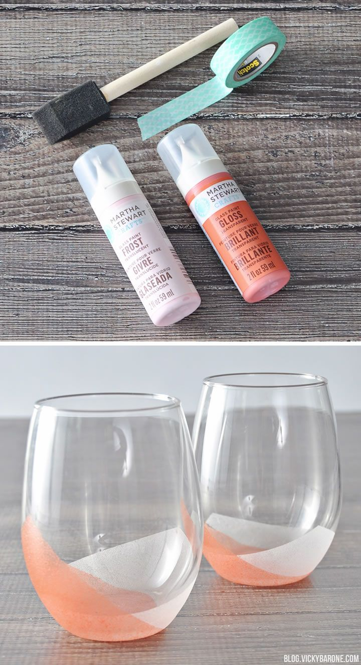 DIY Color Block Frosted Tumblers | Vicky Barone