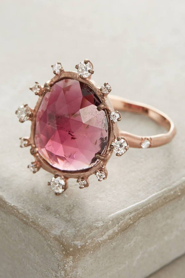 Sirciam One-Of-A-Kind Sunburst Ring - A halo of diamonds embraces rose tourmaline for a one-of-a-kind statement. Handmade in Los Angeles by Sirciam using ethically sourced materials.
