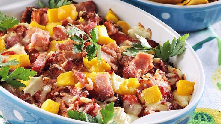 Tacogratäng med kyckling och bacon
