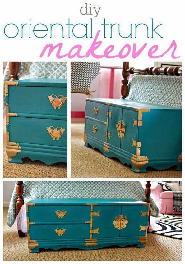 Painted Furniture | How darling is this oriental trunk that was made over with chalky finish paint for a little girl's room?!?