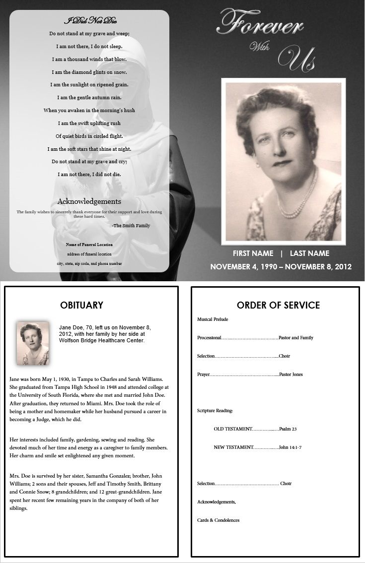Beautiful Funeral Program Template U0027Forever With Usu0027 For The Service. Funeral Template  Contains An Obituary Template And An Order Of Service Template. To Free Printable Obituary Program Template
