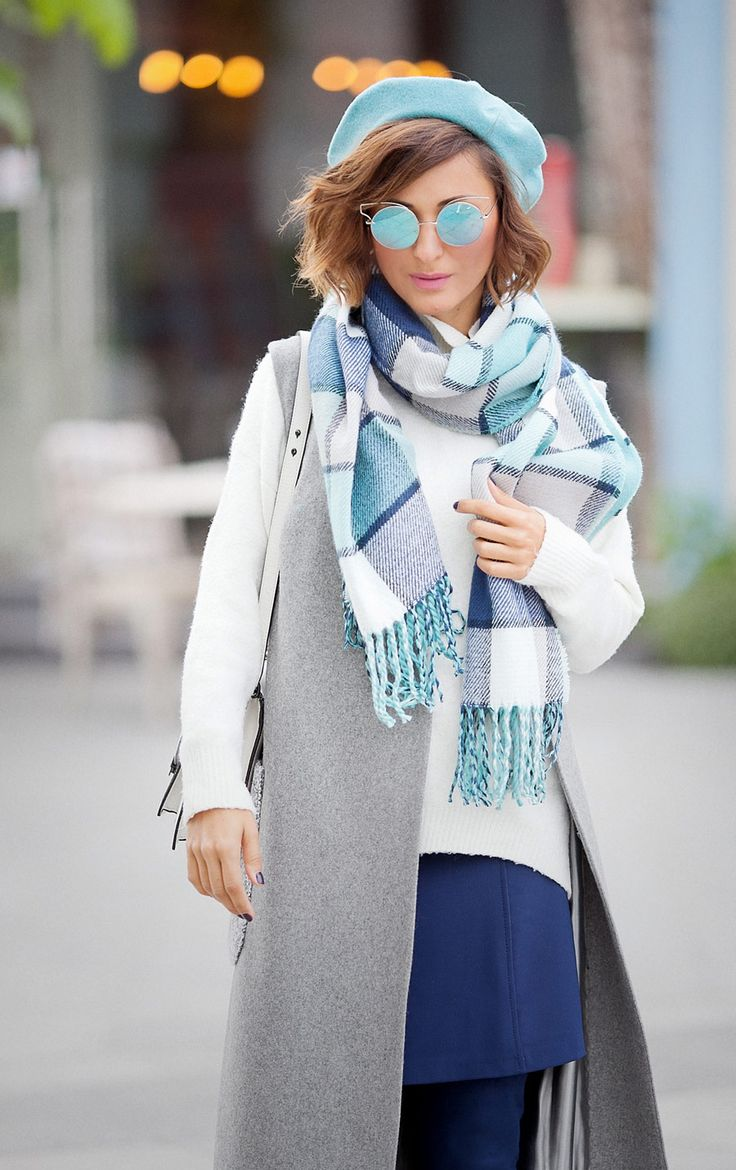 wool beret, wool beret outfit, check scarf, fall outfits, fall outfit ideas, fall street styles,