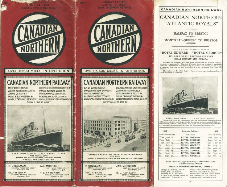 Canadian Northern Railway Timetable 1914 June 29th. Front cover.