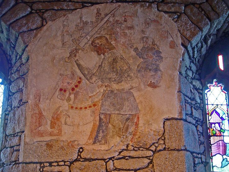 A Fresco-secco wall painting inSt Just in Penwith Parish Church,Cornwall, UK. The painting was created in the 15th century and depictsSaint Georgefighting the dragon.