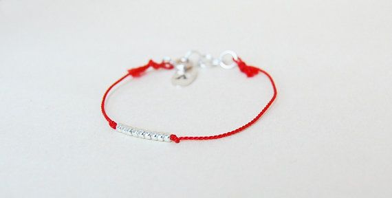 Red silk cord bracelet with silver colored seed beads and sterling silver details - red silk thread bracelet