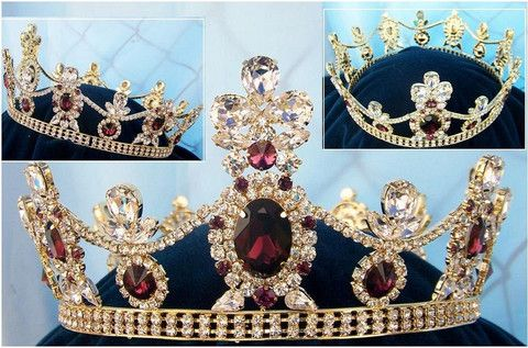 Royal Tsarina State Rhinestone Full Gold Queen, King Crown UNISEX – CrownDesigners
