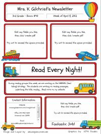 Website with Classroom Newsletter templates that you can type in and save as a PDF to print!