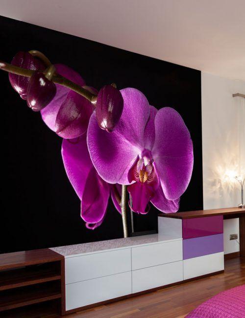 Carta da Parati Orchidea Viola Elegante Carta da Parati Fotomurale a Tema Natura e Fiori