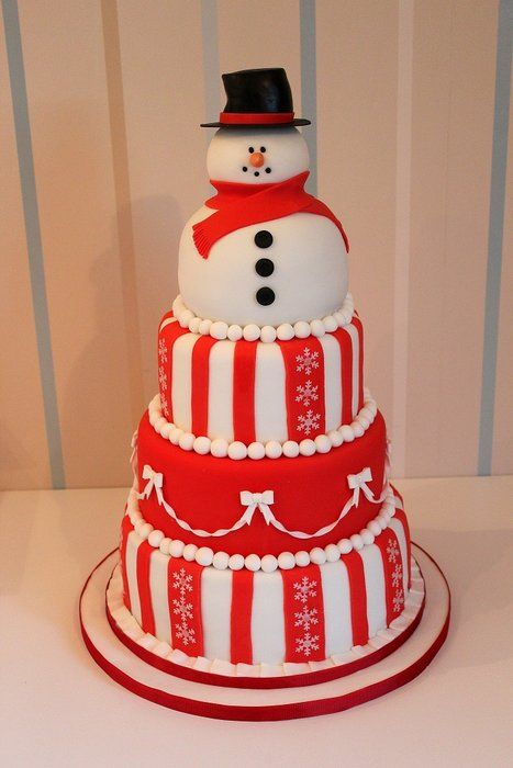 Snowman Christmas 4 tier Cake by Strawberry Lane Cake Company