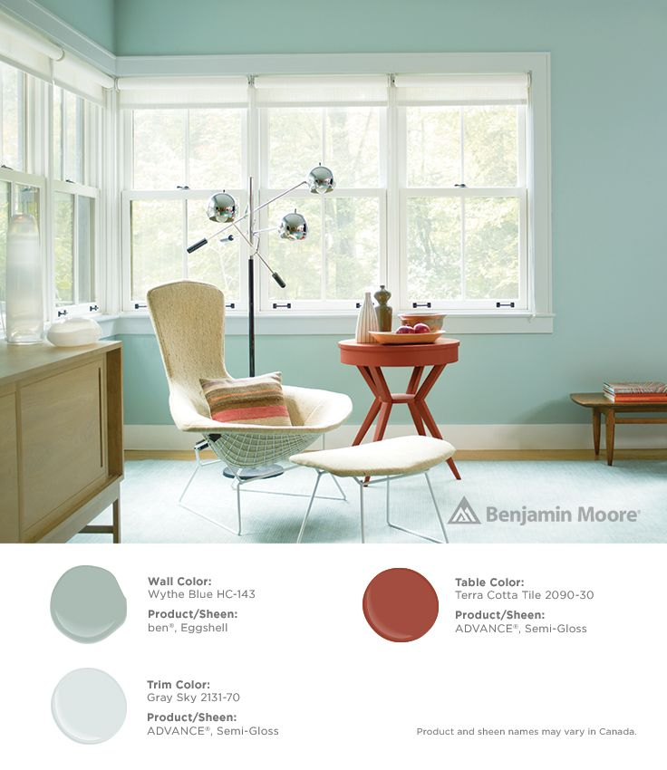 Gorgeous Pops Of Color Benjaminmoore Wythe Blue Hc 143 With Ben Eggshell