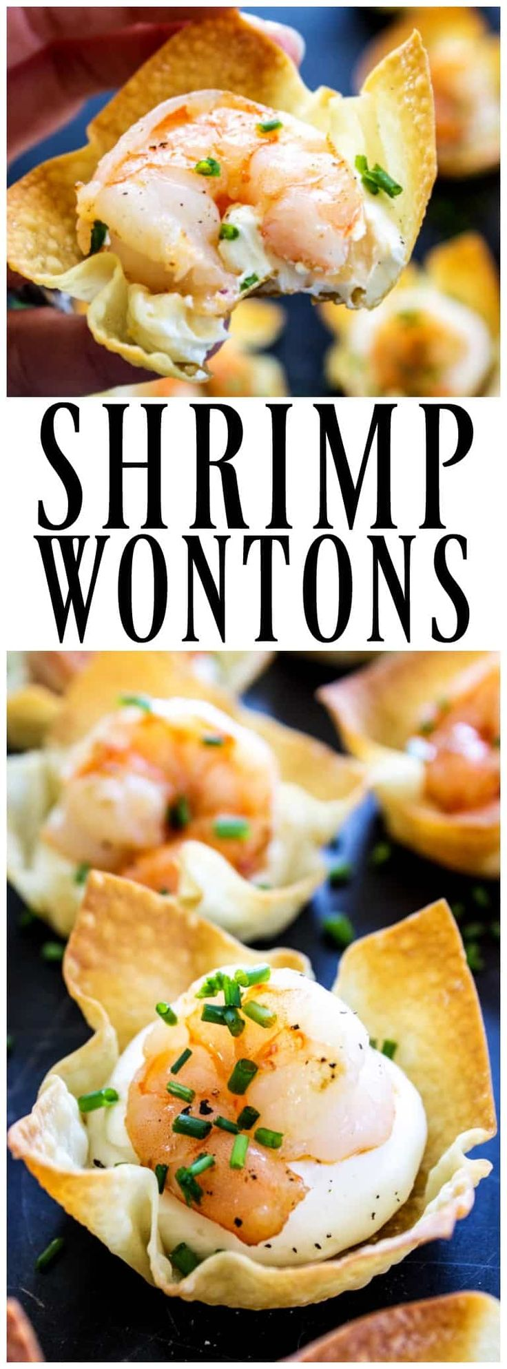 These BAKED SHRIMP WONTONS are a deliciously easy appetizer. Simple and elegant, your guests will love this twist on rangoons. #appetizers #holidayappetizers #wontons #rangoon #shrimprecipes #shrimp #appetizer #holidayrecipes #recipes #baked