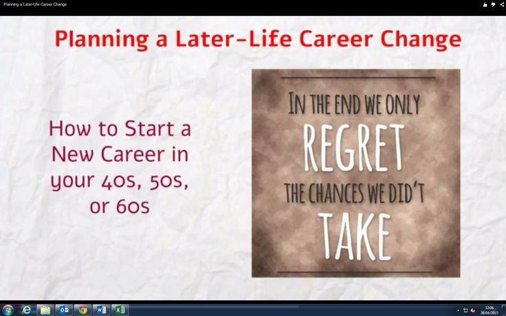 Planning a Later-Life Career Change How to Start a New Career in your 40s, 50s, or 60s  http://www.brightonsbm.com/news/planning-later-life-career-change/