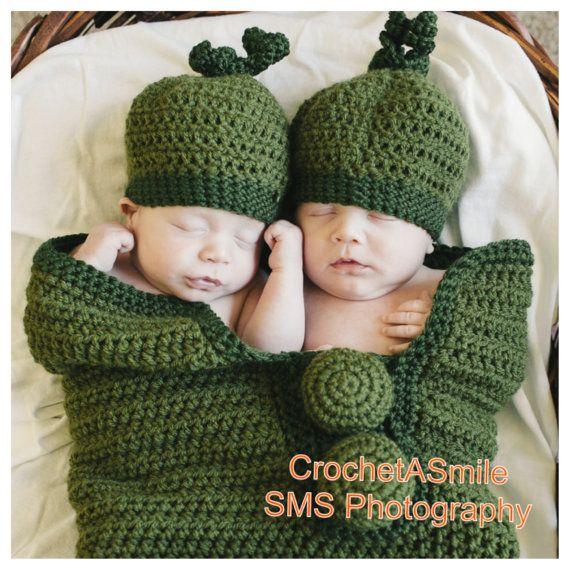 Crochet Custom Twins Baby Pea Pod Cocoon Two Matching