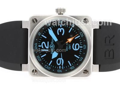 Perfect Replica Bell & Ross BR 01-93 GMT Automatic with Black Dial-Blue Markers 42x42mm