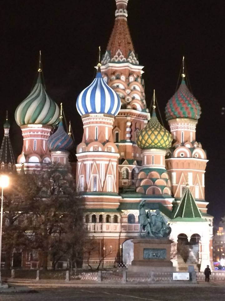 "The official name of this example of Byzantine architecture in Russia is ""The Cathedral of the Intercession of the Virgin by the Moat,"" but it is widely known as ""St. Basil's Cathedral,"" for Basil the Blessed who is buried on the site.  Located on Red Square in Moscow, it is one of the most iconic buildings in Russia.  It was ordered by Ivan the Terrible in 1552 and completed in 1560.  The famous decorated domes replaced the original helmeted domes in the 17th century.  Photo: K. Pecka, 2014"