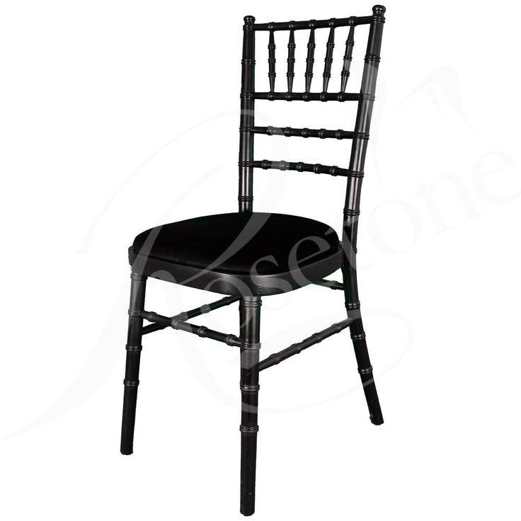 Black Chiavari Wedding Chair with Black Seat Pad