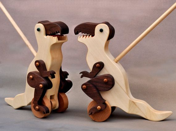 Tyrannosaurus Rex Push Toy Animated Wooden Dinosaur Toy for Kids, Toddlers Boys Girls Articulated Kid's Gift