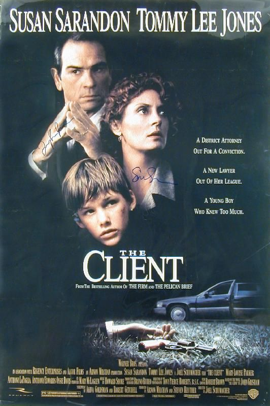 The Client Movie Cast - Poster Signed Co-signed By: Susan Sarandon, Tommy Lee Jones - Document 251731