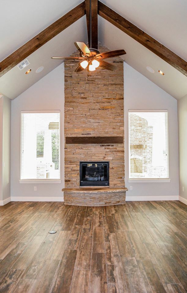 Love fireplace between two windows for living room   Ideas ...