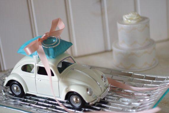 Wedding Ivory Volkswagon Bug Toy Car Ring by ByTheSeashoreDecor, $54.00