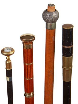 255. Four System Canes-One modern telescope, tattered f : Lot 255
