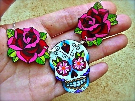 sugar skull and rose tattoo necklace day of the dead (dia de los muertos calavera) $31