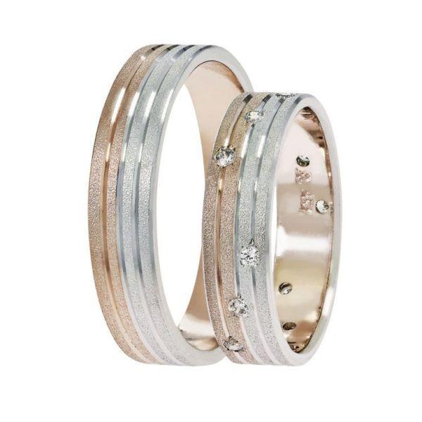 Βέρες γάμου Stergiadis δίχρωμο  χρυσό Κ14 SAT-7WR523