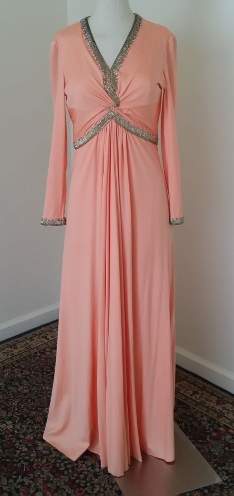 Vintage 'Made in British Crown Colony of Hong Kong' peach maxi gown with beads
