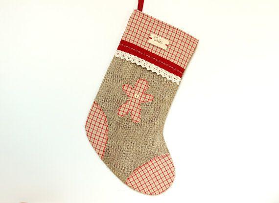 Personalised custom Christmas stocking, Christmas stocking, burlap, handmade, rustic, nordic, scandi, holidays,red, check, traditional