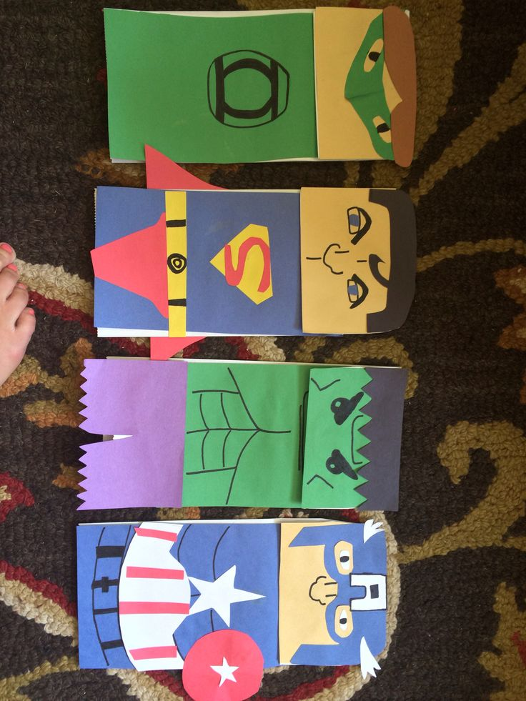 Super Hero Paper Bag Puppets