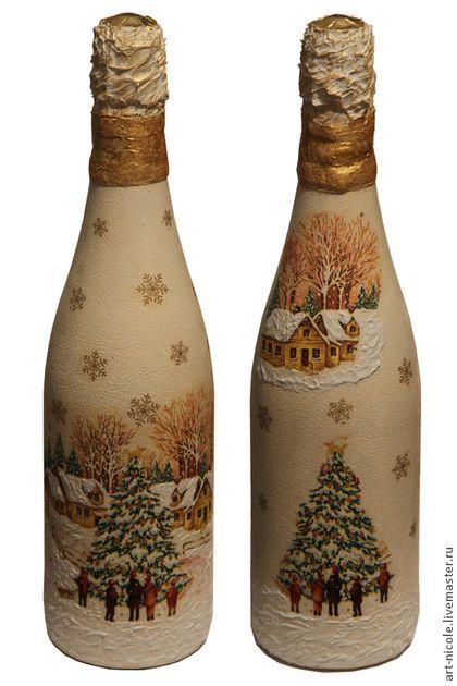 Подарочное оформление бутылок ручной работы. Ярмарка Мастеров - ручная работа Декупаж бутылки Новогодняя Елка. Handmade.