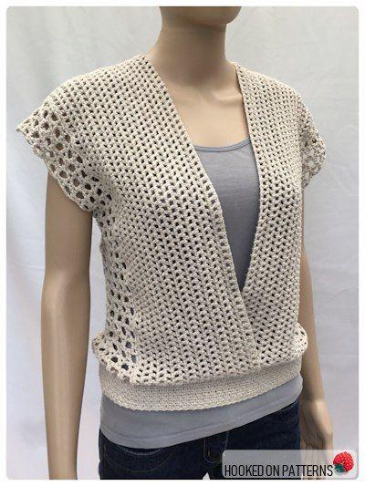 Gehäkeltes ärmelloses Oberteil Leora Summer Top Crochet Pattern Open Front View