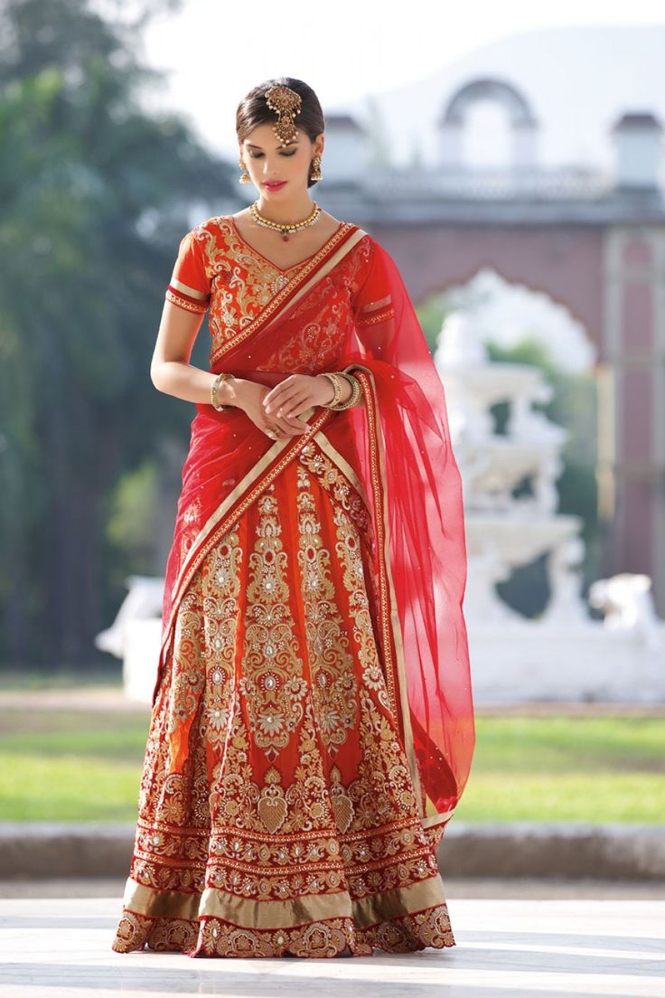 Shaily Red Designer #Embroidered Wedding #Lehenga $-165