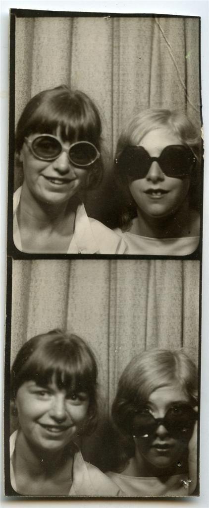 Vtg 1970s Strip of 2 Photobooth Booth Photos Teen Girls Model Fashion Sunglasses | eBay