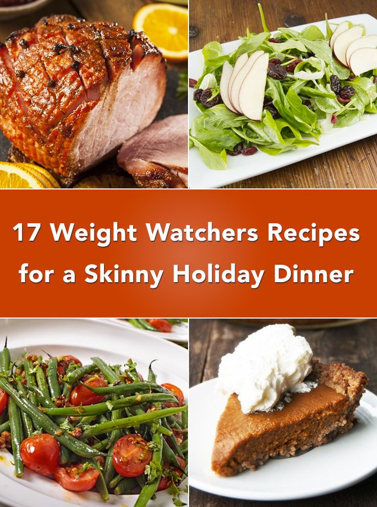 17 Weight Watchers Recipes for a Skinny Holiday Dinner including Ham, Beef Rib Roast, Sweet Potato Casserole Sticks, Stuffing, Au Gratin Potatoes, Roasted Carrots, Macaroni and Cheese, Corn, Mashed Potatoes, Biscuits, Cornbread, Green Bean Casserole, Pumpkin Pie, and more!