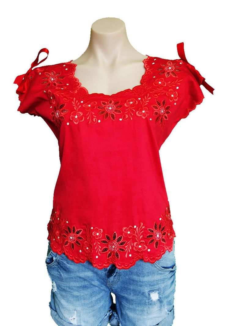 Gorgeous embroidered Mexican blouse with Scalloped hem by MexicanitaBoutique on Etsy