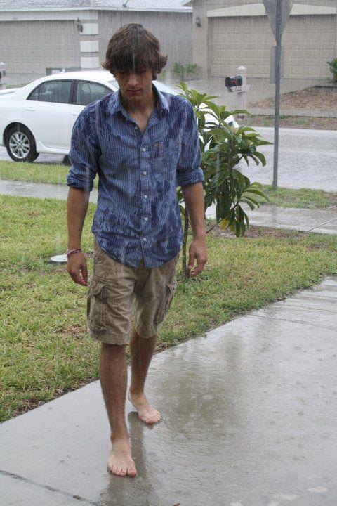 Barefoot Guy Walking In The Rain Guide Style