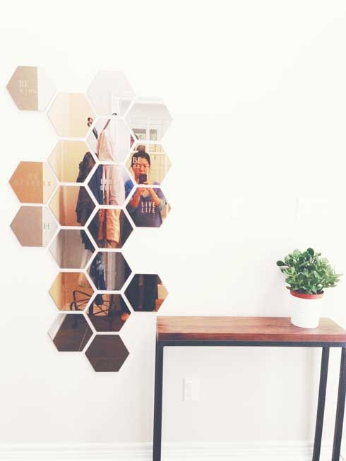 ikea honefoss entry mirrors condo re do pinterest foyer tables mirror glass and hexagons