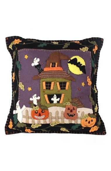 New World Arts Haunted House Accent Pillow
