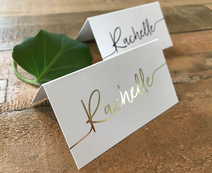 A set of simple, minimal and clean place cards | tent cards | escort cards with a gorgeous script font and optional metallic foil. Place cards are completely customisable and can be used for any occasion.