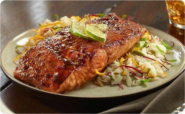 Grilled Salmon Filets ~ Our soy sauce and brown sugar marinade, with a touch of lime and garlic, is the perfect complement to your grilled salmon filets. | BetterThanBouillon.com