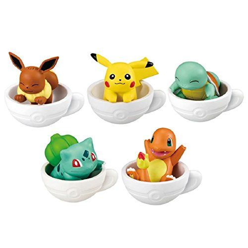 Pokemon Teacup Time Mascot Figures Gashapon Nintendo Bandai – Set of 5 – Pokemon Cups and Pokemon Mugs