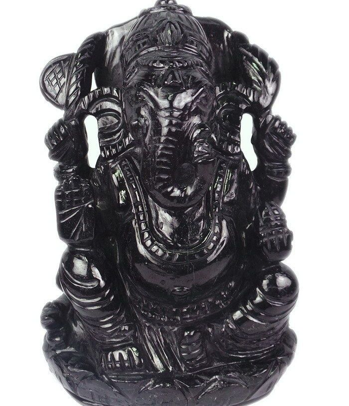 "Rare Natural Black Tourmaline ""Ganesha"" Hand Carved Statue 8130 Ct/1.5 Kilo+"