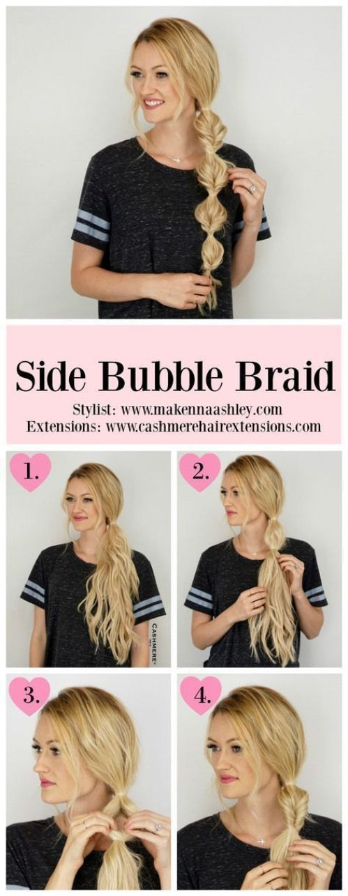 Seitenblasengeflecht für langes Haar #easyhairstyles #easy #hairstyles #boho
