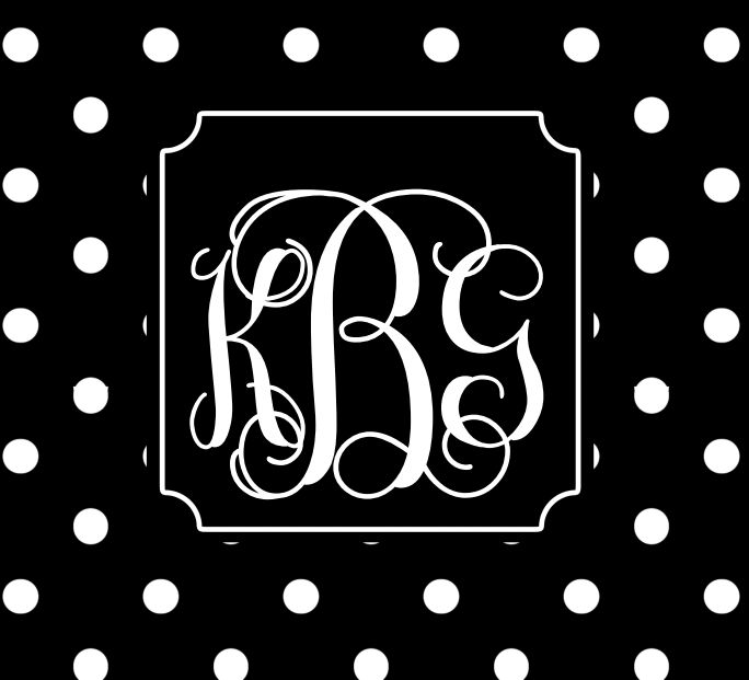 my monogram with a black and white polka dot backround!! Check out printablemonogram.com