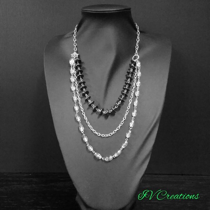 Silver chain layered necklace  by IV Creations
