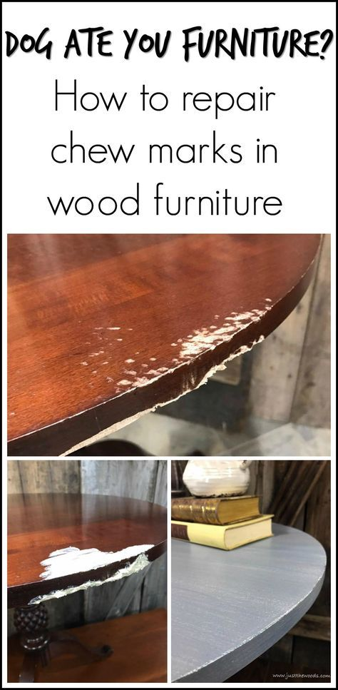 If you have a pet that has used your furniture as a chew toy, see how to repair bite marks in wood furniture with this painted pedestal table makeover.
