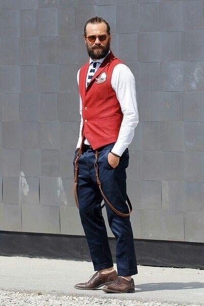 Men's street fashion. Suspenders. Beard. Vest. Shoes. Also jeans.