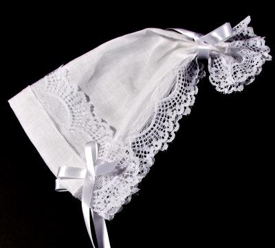 Unique Baby Gift Irish Linen Baby Bonnet Handkerchief